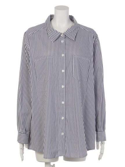 VARAL DE MODA+ (バラルデモーダプラス) カシュクール2WAYシャツ ネイビー