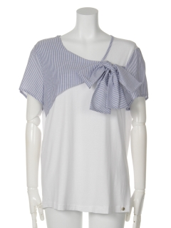 リメイク風ストライプMIXTシャツ