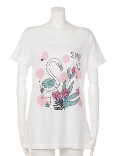 フラミンゴ&フラワープリントTシャツ