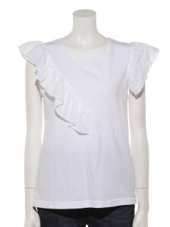フリルデザインアシンメトリーTシャツ