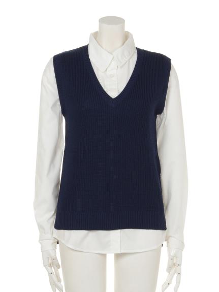 Roomy s (ルーミーズ) サイドスリットベストxシャツセット ネイビー
