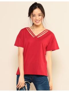 ダブルフロントクロスネックTシャツ