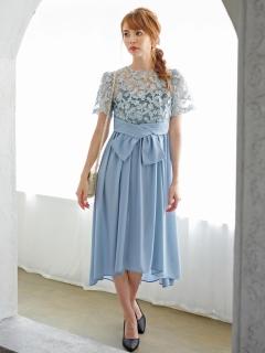 刺繍レーステールカットドレス