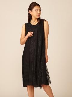 オーバーレースプリーツドレス