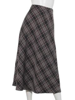 ワントーンチェックフレアスカート