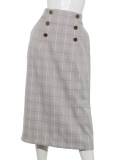 ボタンアクセント チェックナロータイトスカート