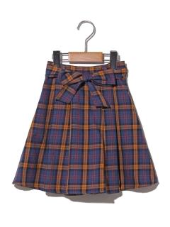 【100~130cm】ウエストリボンチェックフレアスカート