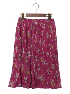 【150cm】フラワープリントプリーツスカート