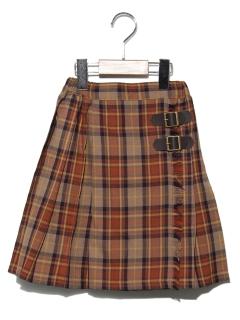 ラップフウチェックプリーツスカート