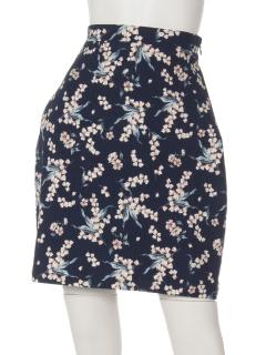 台形ジャカード花柄スカート