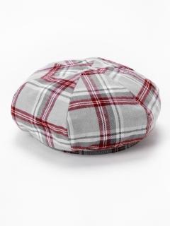 チェックベレー帽