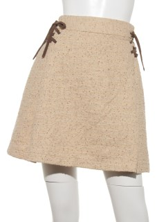 ラメツィードレースアップスカート