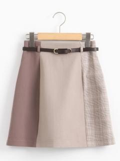 スリーカラーベルト付ミニスカート