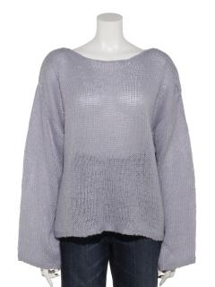 透かし編みユルプルオーバー