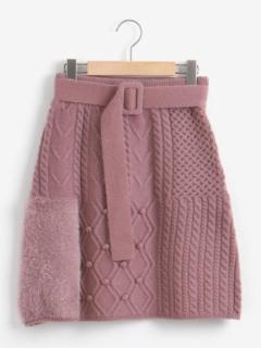 パッチワークニットスカート