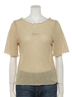 シアーリブロゴ刺繍5分袖プルオーバー