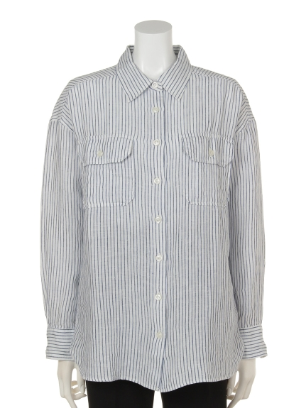 DouDou (ドゥドゥ) ビッグシャツ ストライプ