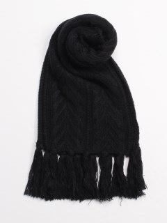 Cable Premium Knit Scarf BLACK