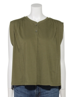 //Front Placket Cropped Tank Tee