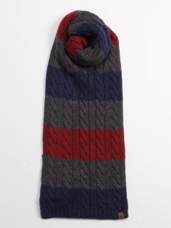 Colorblock Cable Scarf PEACOAT