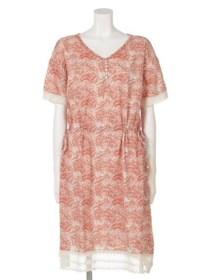 FANAKA (ファナカ) 半袖ドレス サーモンピンク