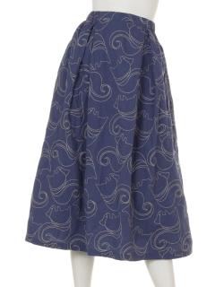 リス柄刺繍スカート
