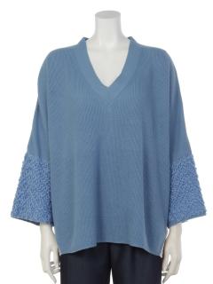 模様編み袖ニットプルオーバー