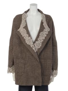 グレンチェック羽織りジャケット