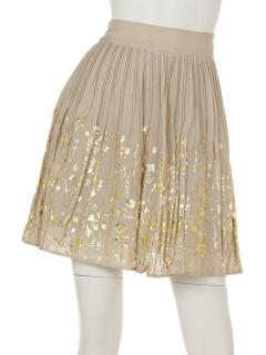 金箔花プリントプリーツスカート