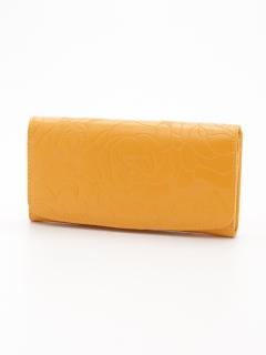 バラ柄型押し長財布