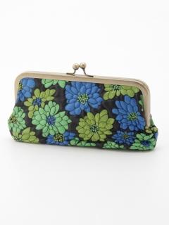 花柄がま口豚革長財布