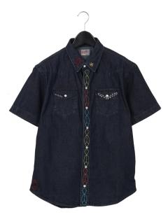 ハンド刺繍デニムウエスタンシャツ