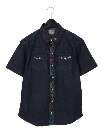 HOUSTON (ヒューストン) ハンド刺繍デニムウエスタンシャツ インディゴ