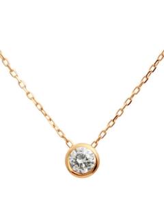 K10ゴールド天然ダイヤモンド0.1ctフクリン一粒ペンダント【K10PGピンクゴールド】