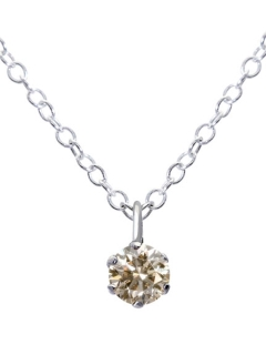 Pt900プラチナ6本爪シャンパンカラー天然ダイヤモンド0.07ct 一粒ネックレス SVチェーン