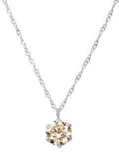 天然ダイヤモンド0.7ctシャンパンカラー6本爪ネックレス【Pt900/Pt850鑑別書付】