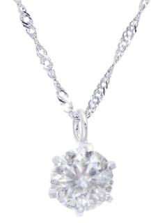Pt999純プラチナ天然ダイヤモンド0.3ctHカラーI1クラス6本爪ネックレス【Pt999/Pt850鑑別書付】