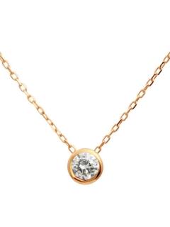 K18ゴールド天然ダイヤモンド0.1ctフクリン一粒ペンダント