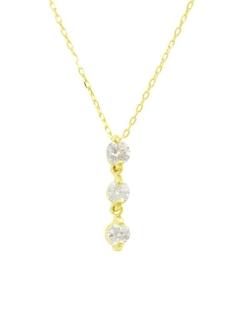 K18ゴールド天然ダイヤモンド計0.1ctスリーストーンネックレス
