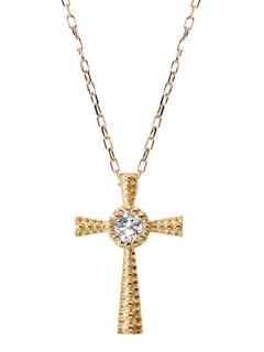 ★K18WG天然ダイヤモンド0.03ctクロスネックレス
