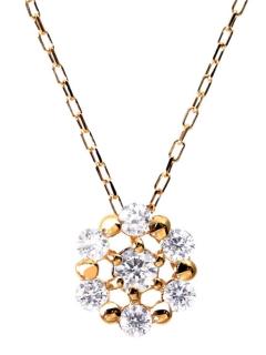 K18ゴールド天然ダイヤモンド計0.1ct7石サークルネックレス