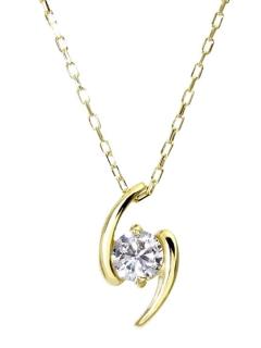 K18ゴールド天然ダイヤモンド0.1ctデザインネックレス