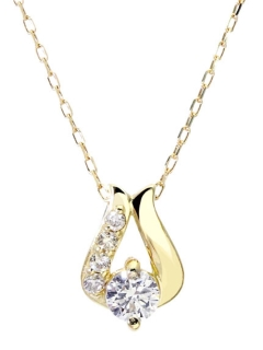 K18ゴールド天然ダイヤモンド計0.1ctデザインネックレス