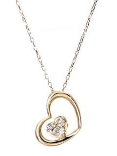 K18ゴールド天然ダイヤモンド計0.05ctハートINハートネックレス