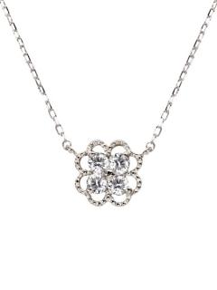 K18ゴールド天然ダイヤモンド計0.1ctクローバーネックレス