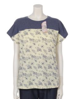 【くつろぎ】くつろぎインナー花柄パッド入りTシャツ