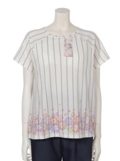 【くつろぎ】くつろぎストライプ裾花柄パッド入りTシャツ