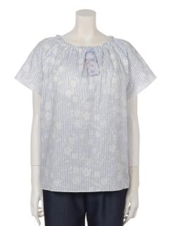 【くつろぎ】くつろぎストライプ花柄パッド入りTシャツ