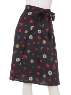 フラワープリントサテンスカート