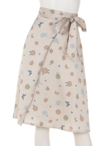 VARAL DE MODA+ (バラルデモーダプラス) フラワープリントサテンスカート ベージュ